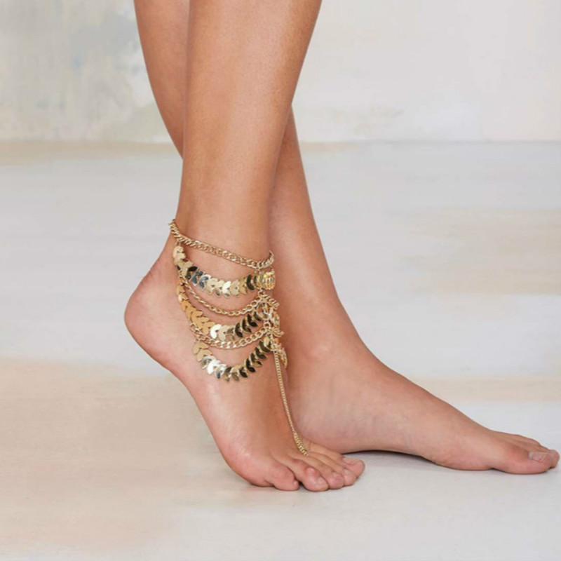 2020 Summer Leaves Chain Anklets for Women Multilayer Tassel Beach Barefoot Sandals Ankle Bracelet Foot Jewelry