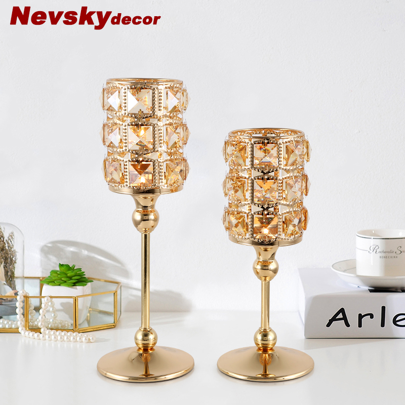 Moden golden brass Crystal Candlestick Light Romantic Candlelight Dinner Home Candle Holders For Wedding Decoration Centerpiece