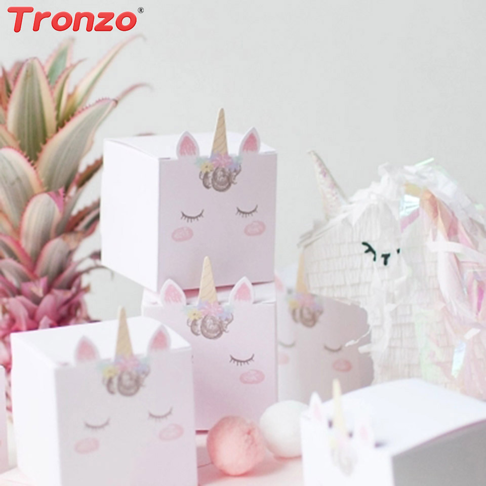 Tronzo DIY Unicorn Candy Box Birthday Party Decorations Kids 5/10/15pcs Pink Unicorn Party Gift Box Baby Shower Wedding Gifts