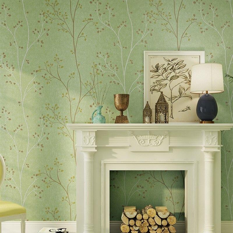 Купить с кэшбэком PAYSOTA Green Nonwoven Tree Wallpaper Living Room Bedroom TV Background Wall Garden Wallpaper Roll