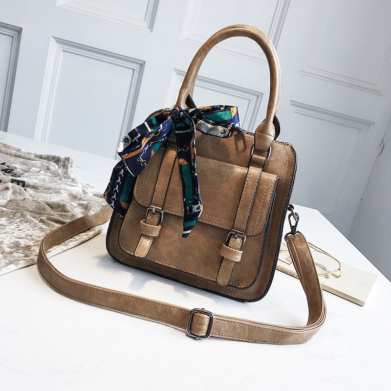 Miyahouse PU Leather Shoulder Bag For Women Ribbons Design Messenger Bag For Female Solid Color Large Capacity Crossbody Bag sweet solid color and beading design tote bag for women