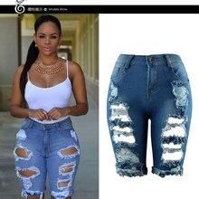 LIVA Лидер продаж, повседневные джинсовые рваные обтягивающие рваные брюки с высокой талией, Стрейчевые джинсы размера плюс, женские короткие джинсы для женщин