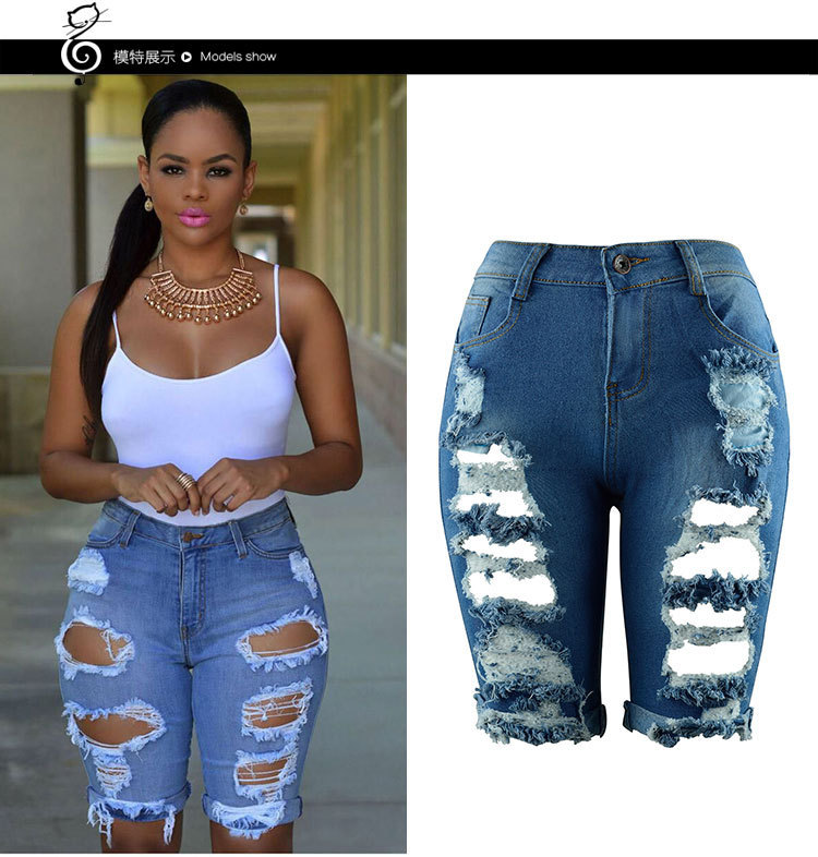 LIVA Hot Sale High Waist Casual Denim Hole Skinny Ripped Pants High Waist Stretch   Jeans   Plus Size Female Short   Jean   For Woman