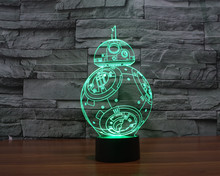 The New Star Wars BB-8 colorful 3D lamp LED lamp light touch switch stereo visual illusion Nightlight