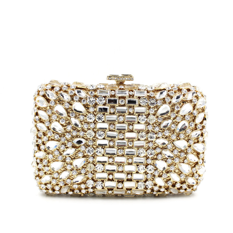 new arrival women white beading evening clutch bags diamond bridal wedding party hand bags chain small purse