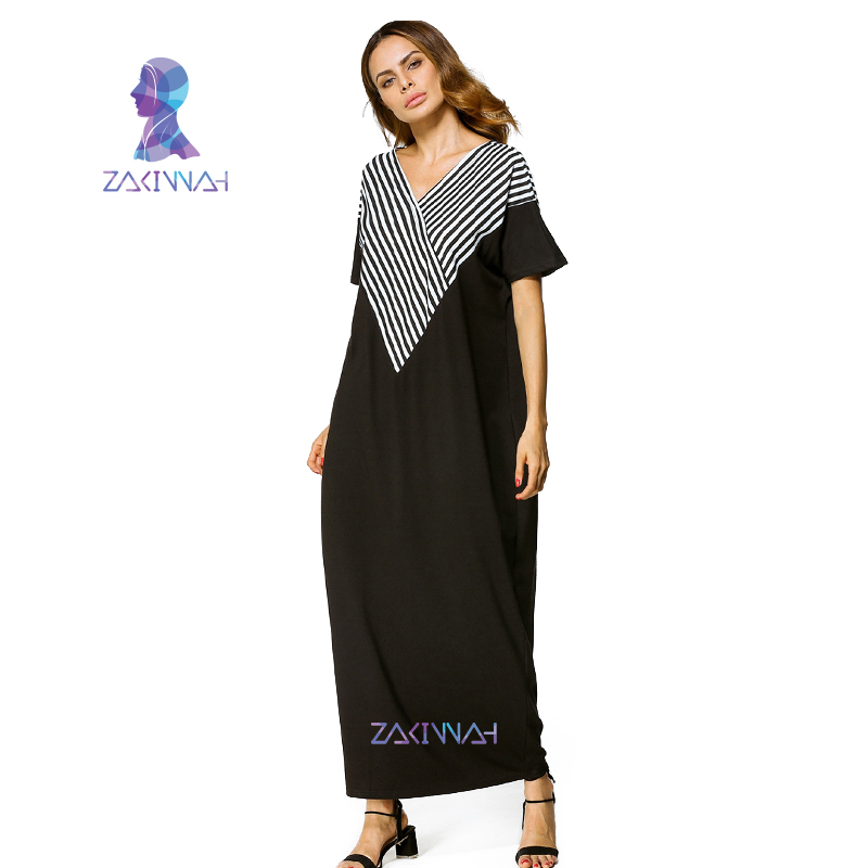31efc8ab096 Middle East Abaya Cotton Maxi Dress Women Fashion Stripe V-Neck Short  Sleeved Casual Loose Party Maxi Long Dress