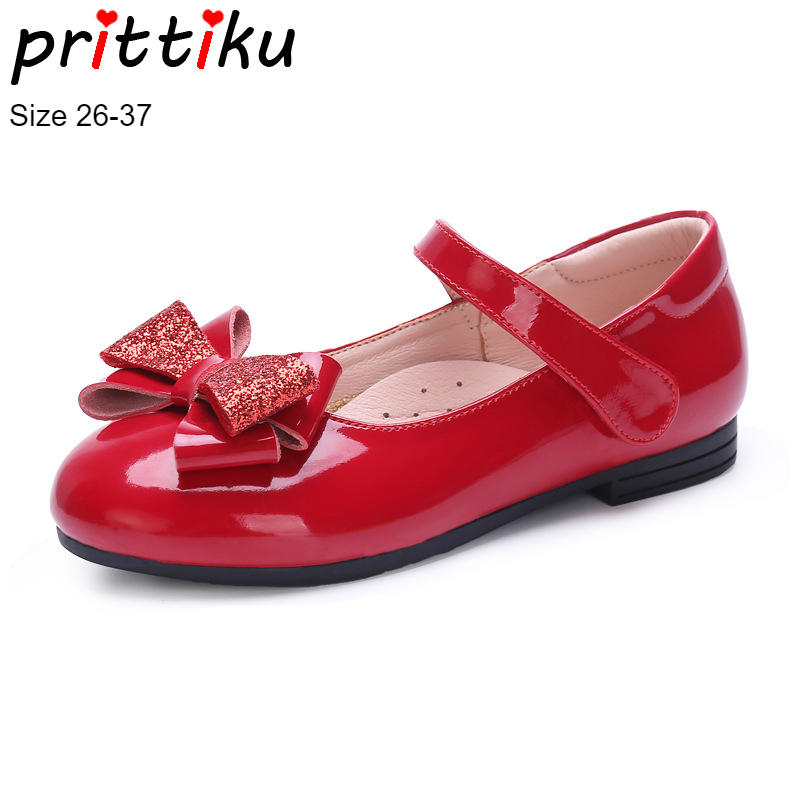 Detail Feedback Questions about Autumn 2018 Girls Patent Genuine Leather  Glitter Bow Flat Children Fashion Princess Mary Jane Toddler Little Big Kid  Dress ... 19fc4c004655