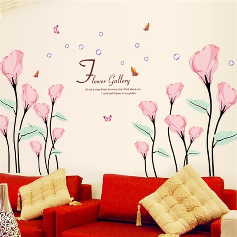 Aliexpress Com Buy Flower Butterfly Wall Stickers Home Decor 9211 Diy Beautiful Home Decoration Red Flowers Wall Sticker Decor Decal For Girls Room From