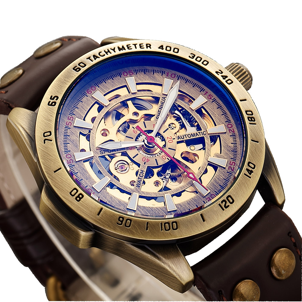 SHUNHUA Leather Band Mechanical Men Watch Automatic Skeleton Sport Wristwatch Waterproof Clock Montre Homme Relogio Masculino outad men skeleton mechanical hand wind watch leather top brands luxury male montre homme rome number display wristwatch relogio