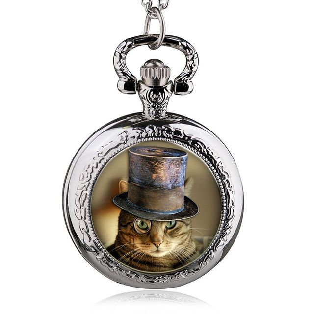 Cat Quartz Pocket Watch Men Women Watches Vintage Necklace Pendant Chain Casual