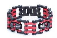 bracelet men Fashion 25mm width red men's stainless steel bracelet motorcycle bike chain bracelets men jewelry skull men's