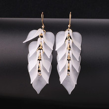 Simple Pink White Orange Leaves Long Earrings For Women Geometric Fashion Jewelry New Arrival Wholesale