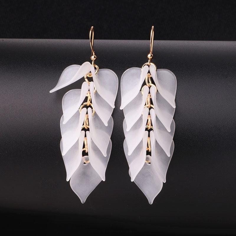 Simple Pink White Orange Leaves Long Earrings For Women Geometric Fashion Jewelry New Arrival Wholesale