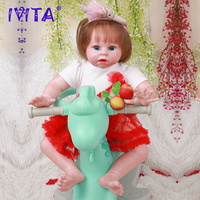 IVITA DS1809 50cm reborn silicone baby doll realista vinyl newborn princess with planted hair toddler girls toys for children