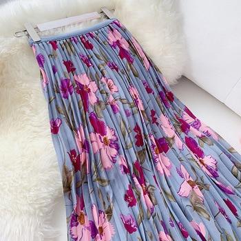 Sweet Flower Print Midi Skirt Women High Waist Pleated Skirt 2019 Summer Chic Vacation Skirt Ladies Purple Holiday Skirts chic women s round neck crop top high cut ethnic print skirt