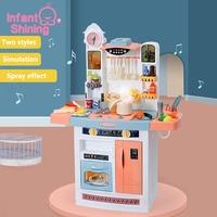 Infant Shining Children Kitchenware Kid Kitchen Toy Simulation Spray with Kids Kitchen Cooking Toy Set for Girls Games