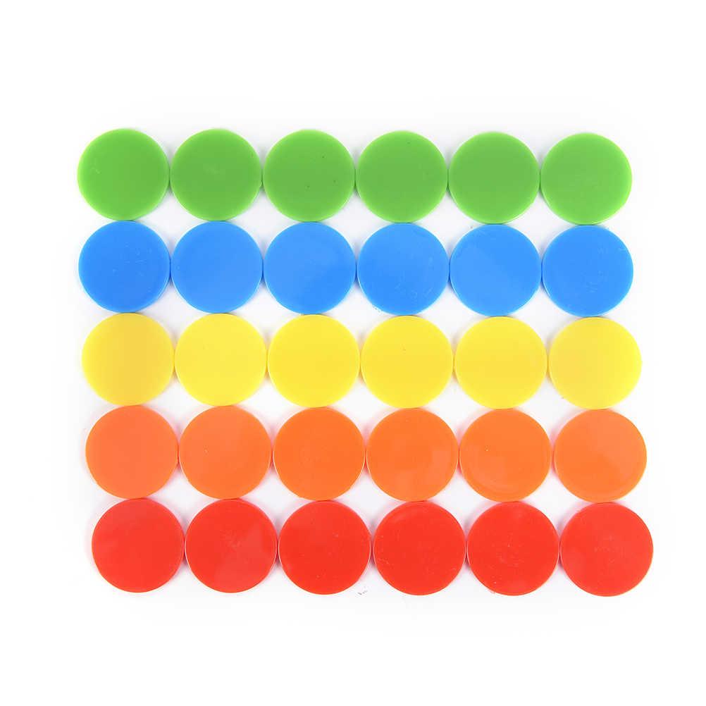 100 개/대 크리 에이 티브 선물 액세서리 플라스틱 포커 칩 카지노 빙고 마커 토큰 재미있는 가족 클럽 게임 장난감 100x24mm