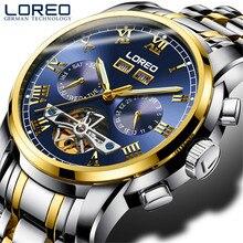 NEW LOREO Men's Watch Automatic Mechanical Tourbillon Watch Calendar Luminous Week Month Waterproof Watch Men Steel Wristwatch