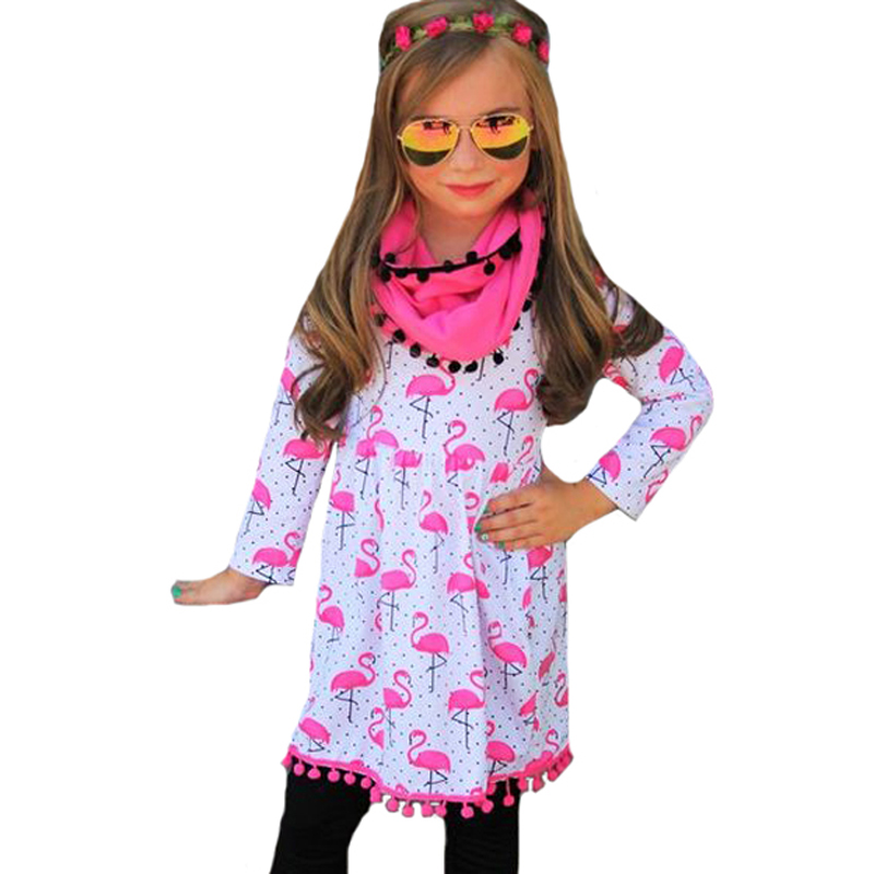 2017 New Flamingo Kids Clothes Girls Dresses Polka Dot Spring Autumn Cartoon Animal Long-sleeve Fashion Tassel Girl Dress Outfit new fashion autumn winter girl dress polka dot