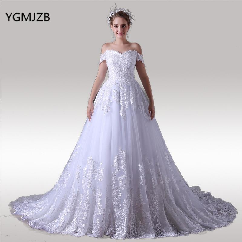 Vestido De Noiva Off Shoulder Wedding Dress Princess Ball Gown Sleeveless Long Train Lace Bride Dresses Bridal Gown  gown