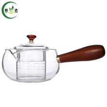 500ml Heat-Resisting Glass Teapot+Glass Filter With Glass Lip & Wooden Handle Puer Tea Tie Guan Yin Teapot(China)