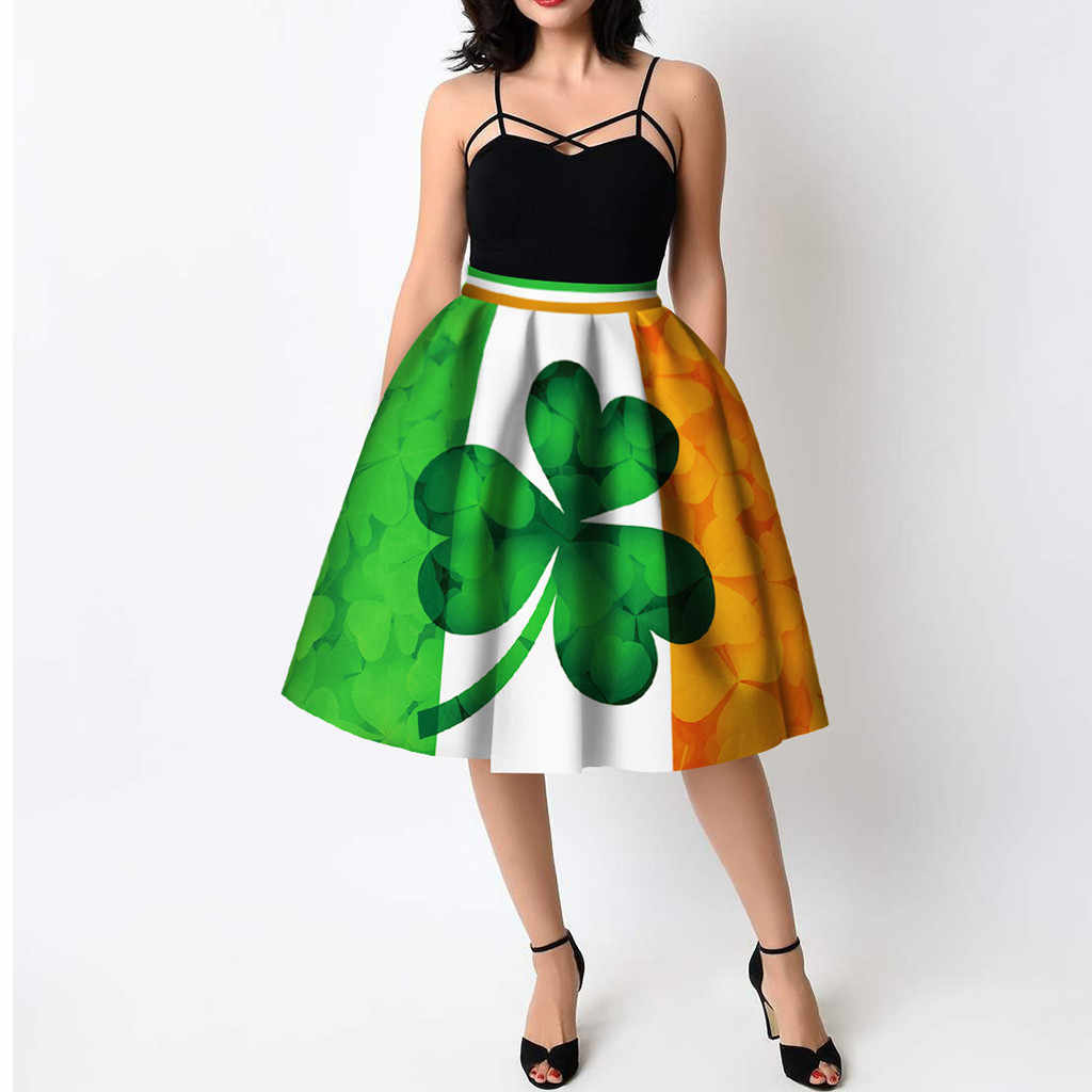 7d63a5619 ... Women summer dress St Patrick's Day Clover Printed Pleated Flared Midi  party night sexy dress women ...
