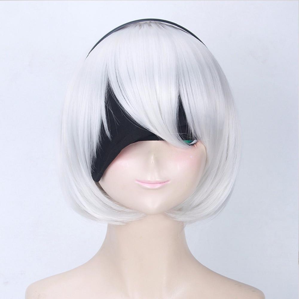 VEVEFHUANG NieR:Automata 2B YoRHa No. 2 Type B Heroine Short White Bobo Cosplay Wig + Free Black Ribbon