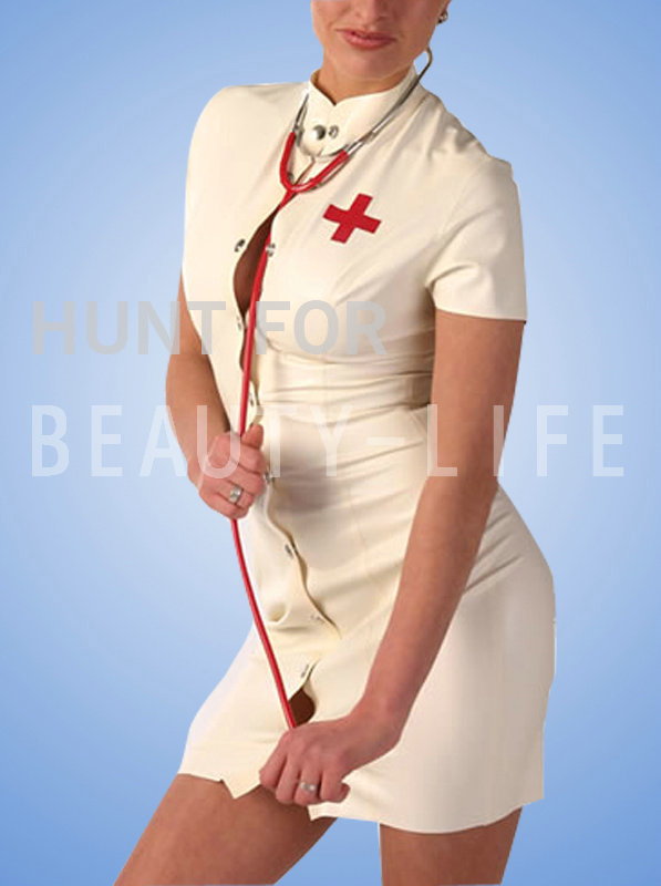 Buy latex fetish dress,rubber latex uniform/costume, doctor/nurser w/ snap front