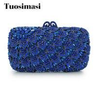 固体ブルーダイヤモンドクリスタルクラッチイブニングバッグレディースイブニングバッグ財布女性新しいデザインの日クラッチバッグ(88169A-DB)