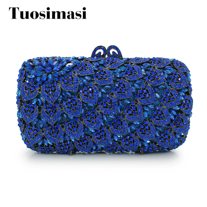 Solid blue diamond crystal clutch evening bag ladies evening bags purse women new design day clutch bags (88169A-DB) women custom name crystal big diamond clutch full crystal hot selling 2017 new fashion evening bags 1001bg