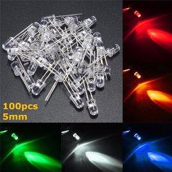 Горячая продажа 50 шт 5 мм круглые прозрачные верхние светодиодный светоизлучающие диоды лампы комплект 5 цветов красный/зеленый/синий/желты...