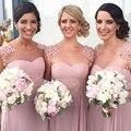 2017 largo de dama de honor vestidos de escote redondo de la gasa a-lline dusty rose pink dama de honor vestidos de boda vestidos