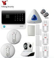 Yobangsecurity WI FI GSM GPRS Охранной Сигнализации Системы сенсорной клавиатурой Android IOS APP Управление Relay IP Камера Дым пожарный Сенсор