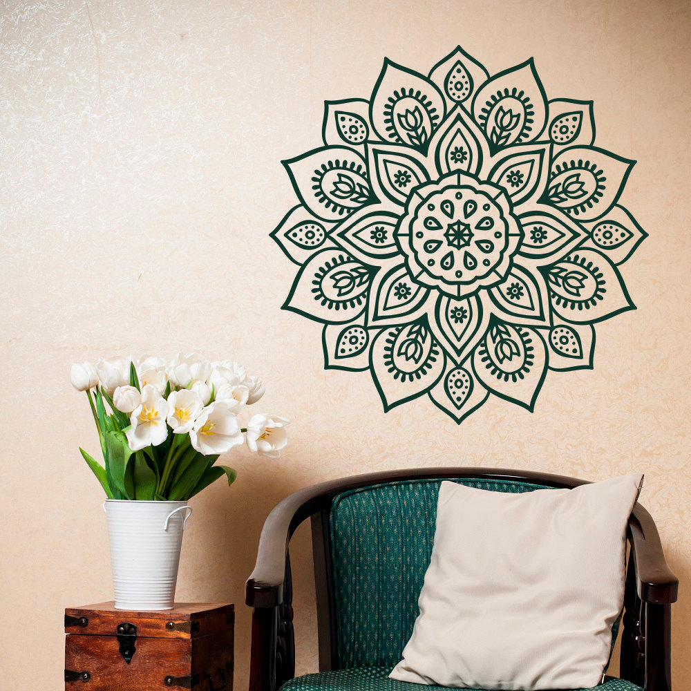 Bohe Mandala Flower Wall Paper Decor Yoga Studio Vinyl: Bohemian Mandala Flower Wall Decal Beautiful Pattern Vinyl