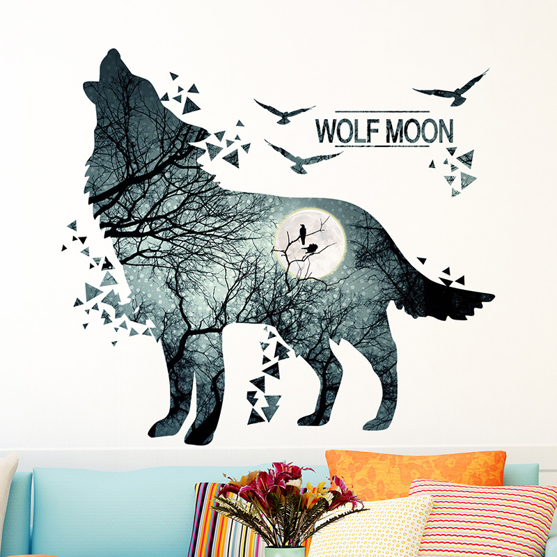 Wolf Moon Wall Stickers Decor Trees Diy Art Forest Branch