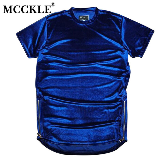 MCCKLE 2018 Hip Hop Longline Extended Tee Shirt Hi-Street Men Velour T Shirts Fashion Golden Side Zipper Velvet Curved Hem