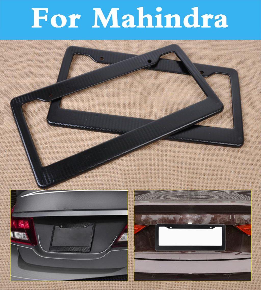 2pcs carbon fiber car license plate frames tag covers holder for mahindra verito commander marshal scorpio armada bolero