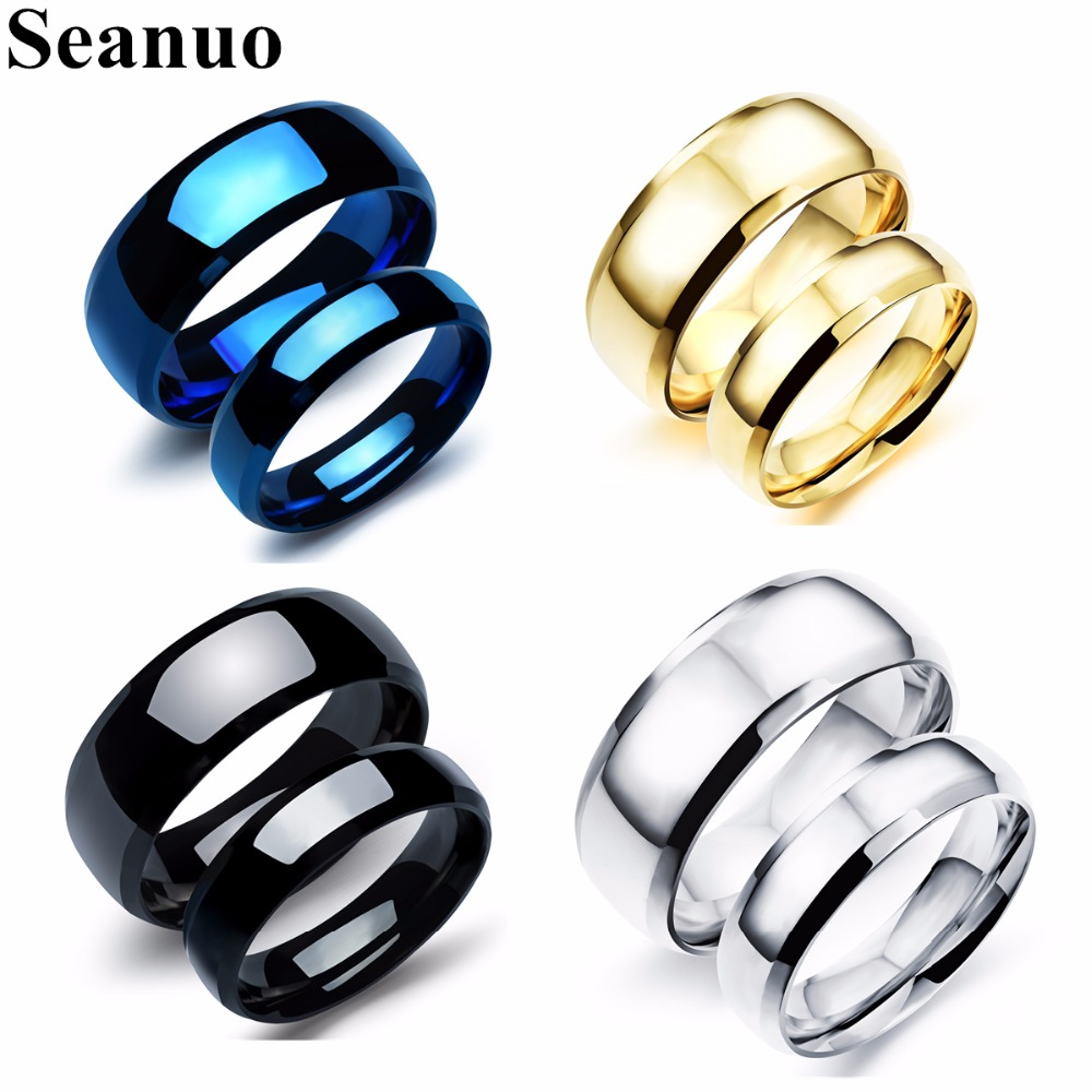 Seanuo 2018 Wedding Brand Stainless Steel Couple Ring Jewelry Fashion 316L Tungsten Men Women Engagement Promise Lovers Rings