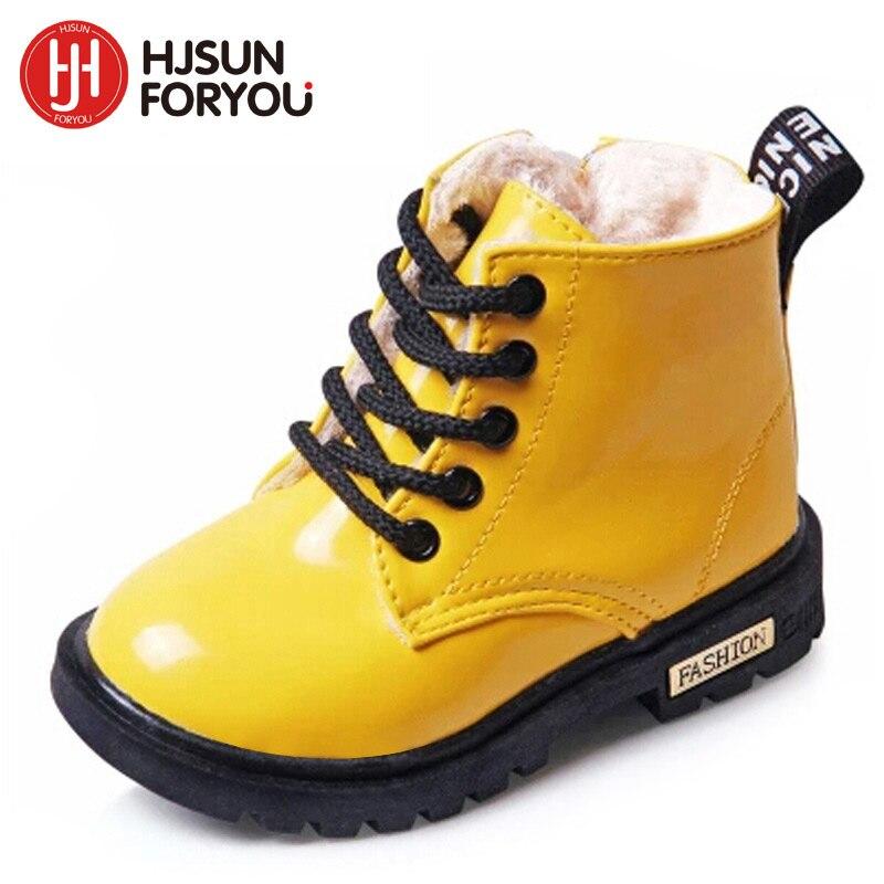2019 nuevos niños de invierno zapatos de cuero de la PU impermeable botas Martin botas de nieve niños marca niños niñas botas de goma de zapatillas de deporte de moda