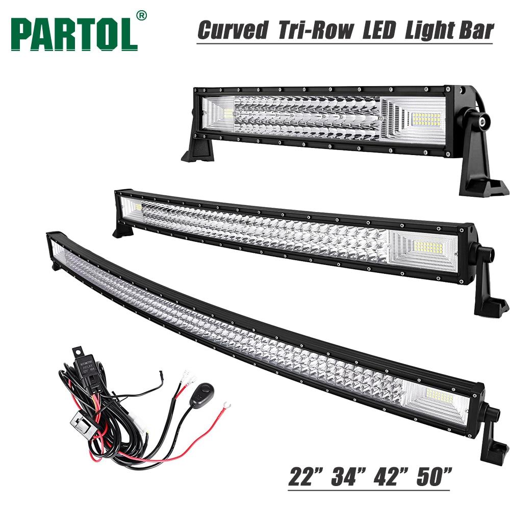 Partol 22 324W 34 486W 42 594W 50 702W Tri Row Curved LED Light Bar Offroad