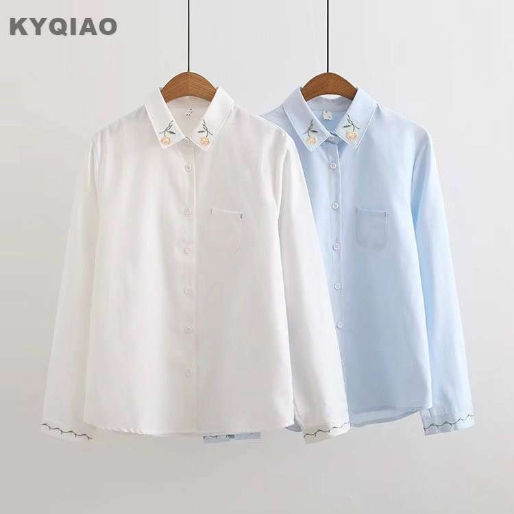 Kyqiao Cartoon Shirts 2019 Mori Girls Spring Autumn Japanese Style Fresh Kawaii Long Sleeve Blue White Animal Blouse Blusa High Quality Materials Women's Clothing