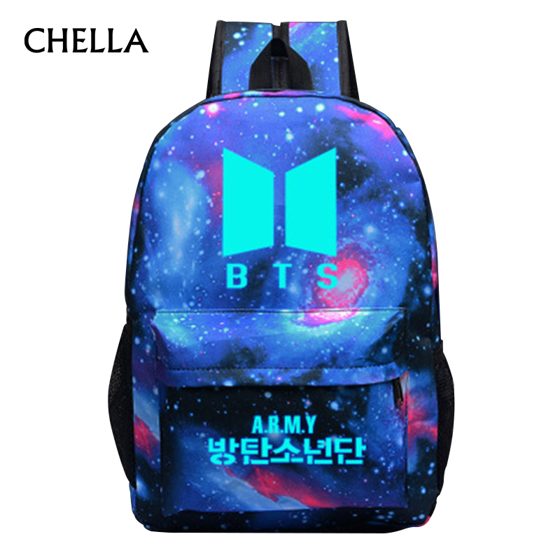 Women BTS Backpack Luminous Boys Girls School Bag Bangtanboys Female Travel Backpacks Teenager Schoolbag Rucksack Mochila BP0229 women men anime black bulter sebastian michaelis backpack rucksack mochila schoolbag bag for school boys girls student travel