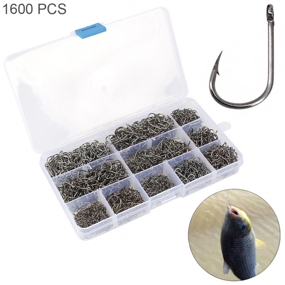 100pcs 10 Compartments Steel Fishing Hooks W//Hole Carp Fishing Tackle Box Case