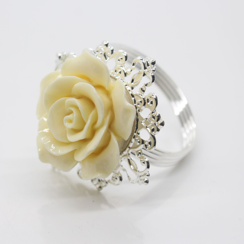 Fashion White Flower Napkin Buckle Rings Plating Uv Hotel Sle Room Wedding Banquet Serviette Holder