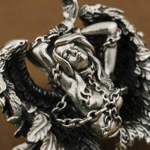 Image 2 - LINSION Высокая деталь 925 пробы серебряный кулон Андромеда сексуальный ангел Байкерский кулон TA82