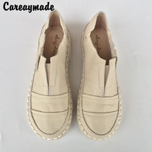 New 2016 summer,Genuine Leather shoes,pure handmade white shoes ,the retro art mori girl Flats shoes,fashion casual shoes.3color