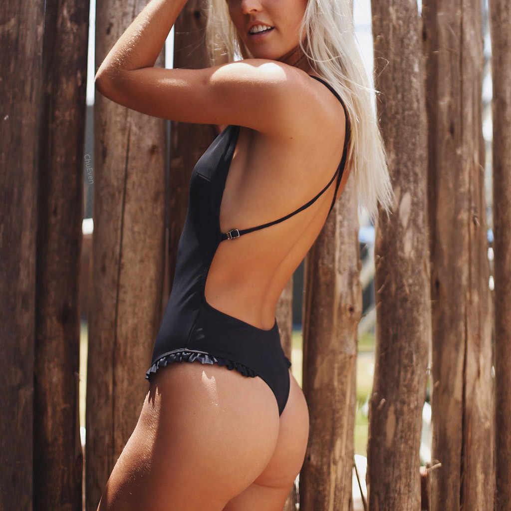 2019 traje de baño de verano para mujer, Sexy, con volantes, de una sola pieza, Bikini, almohadilla de realce, bañador, bañador, trajes de baño, mono Monokini