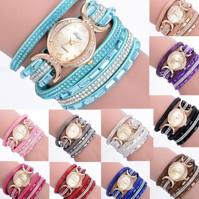 Ladies Bracelet Diamond Circle Watch Student Fashion Table clock women silicone