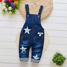 2018 New Kids Boy Girl Overalls Clothes Infant Boy Girl Pants Fashion Baby Jeans Pants Baby Jumpsuits Cotton Denim Trousers(China)