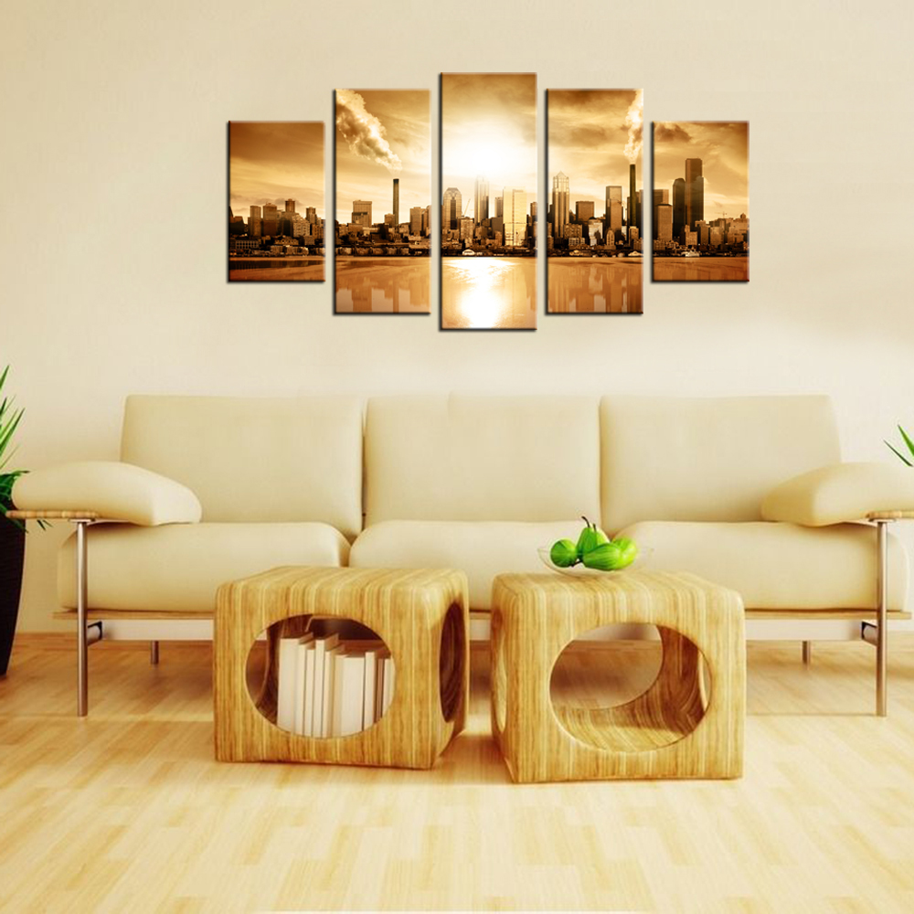 Contemporary Wall Decor Modern City Vintage Style Retro Painting ...